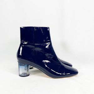 ZARA Oval Heel Blue Patent Square Toe Ankle Boots
